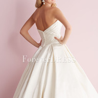 Cheap white satin wedding dresses with pleated bodice and botton back