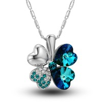 MagicPieces Women's Alloy Four Leaf Clover Shape Pendant with Rhinestone Platium Plating Necklace Color Blue