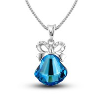 MagicPieces Women's Alloy Glisten Rhinestone Pendant Platium Plating Necklace Color Blue