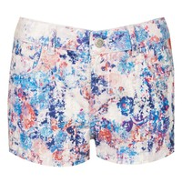 Moto Floral Denim Shorts