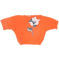 Vintage 80s Orange Batwing Rose Ugly Sweater