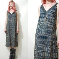 TINSEL 80s Vintage DRESS Metallic Sparkle Swirl Sheer Mid-Long 1980s vtg M