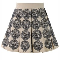 Beige Embroidered Pleated Mini Skirt