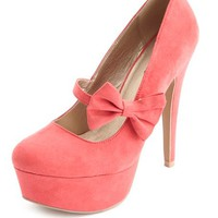 BOW STRAP ALMOND TOE PLATFORM PUMPS