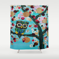 :: Gemmy Owl Loves Jewel Trees :: Shower Curtain by GaleStorm Artworks