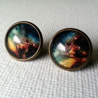 Galaxy Earrings - Black Earrings - Black Studs -Galaxy Earrings - Shinny Earrings