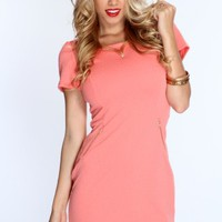 Peach Short Sleeves Zipper Decor Party Dress