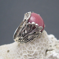 Sterling Rhodochrosite Ring Leaves Vines Vintage Jewelry R5820