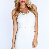 White Sleeveless Lace Cutout Sexy Party Dress