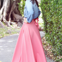 Coral Dreams Wrap Maxi Skirt - Furor Moda - Tops - Dresses - Jackets - Vintage