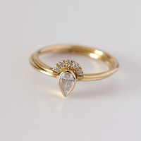 0.2 Carat Pear Diamond Engagement Ring with a Pave Diamonds Crown Ring - Wedding Set - 18k Solid Gold