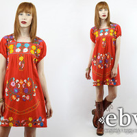 Red Mexican Dress Embroidered Dress Hippie Dress Hippy Dress Boho Dress Festival Dress Vintage 70s Embroidered Mini Dress S M Red Dress