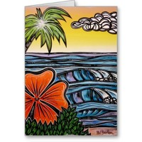 Tropical Waves Blank Greeting Card