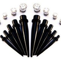 bOdfx BLING Intermediate Ear Stretching kit. UV tapers + Stainless Tunnels. 6G-00G