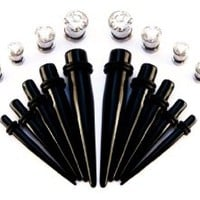 Bodfx Ear Tapers + Bling 316L Stainless Tunnel Plugs Gauges Combo. Intermediate Ear Stretching Kit. Gauge Sizes 00G, 0G, 2G, 4G, 6G. 1 Set Per Size of 2 Ear Tapers and 2 Bling Screw fit Tunnels / Plugs. 20 Pieces Total.