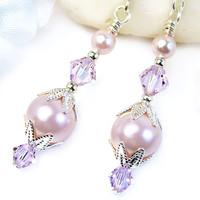 Pink Pearl Dangle Earrings Violet Crystals Swarovski Handmade Jewelry