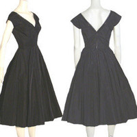 1950s Taffeta Beaded Circle Skirt Vintage Dress Saks | eBay