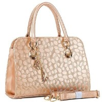 Metallic Gold Embossed Double Handle Tote Handbag Cross Body Bag