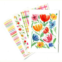 4 colorful greeting cards abstract floral checks and stripes, blank note card, mother's day, for her, spring summer, any occasion card