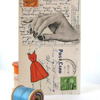 The Seamstress Altered postcard collage by catwalk on Etsy