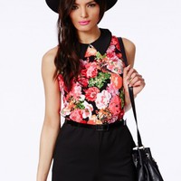 Missguided - Hopka Floral Print Playsuit With Belt
