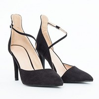 Missguided - Melindett Black Court Heels With Ankle Strap