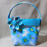 Little Girls' Adorable Blue Floral Purse With Detachable Fabric Flower Pin
