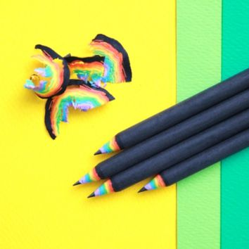 Rainbow Black Pencil Set