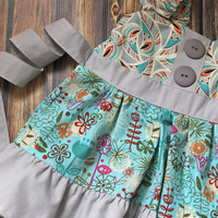Girls gray blue Dress, girl modern print dress, girl fun dress, toddler aqua gray dress, tree print dress, grey and blue dress