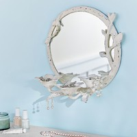 Metal Floral Jewelry + Beauty Storage Mirror