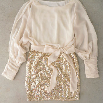 Sparkling Darling Dress in Ivory [4659] - $34.94 : Vintage Inspired Clothing & Affordable Dresses, deloom | Modern. Vintage. Crafted.