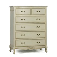 Provencale Antique White French 6 Drawer Tall Chest | Reproduction French Furniture | White Bedroom Furniture