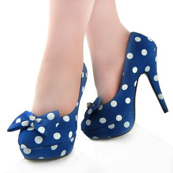 Show Story Blue Two Tone Spot Polka Dots Bow Stiletto Platform High Heel Pump,LF30406BU37,6US,Blue
