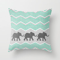 Three Elephants - Teal and White Chevron on Grey Throw Pillow by Tangerine-Tane | Society6