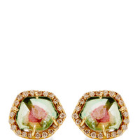 One Of A Kind Tourmaline And Diamond Stud Earrings by Kimberly McDonald - Moda Operandi