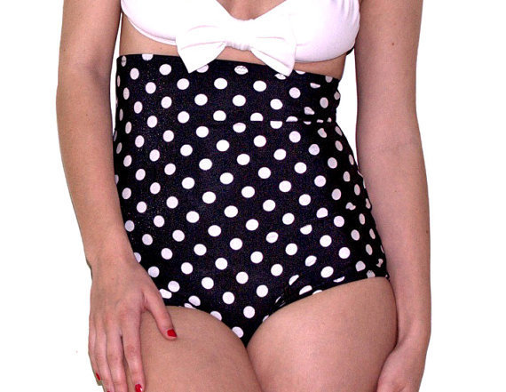 Petit Pois high waist bikini black and white by MimiHammer on Etsy