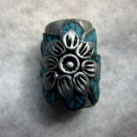 Dread Bead Silver  Flower with Turquoise Leaves  You Choose Hole Size