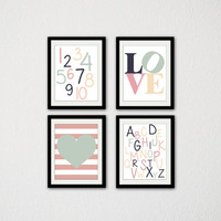"Set of Four ABC and 123 Prints. Letters and Numbers. Love Typography. Nursery. Baby wall art. Heart. Mint Green and Pink/ 8.5x11"" prints."
