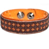 Brown Tribal Pattern Mens Leather Bracelet