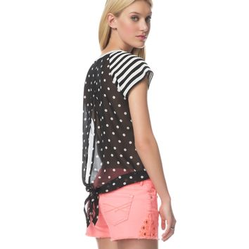 Open-Back Stripes & Dots Boxy Tee