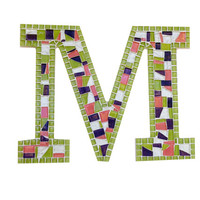 Lime Green and Pink Mosaic Letter M -- Perfect for Teen's Bedroom