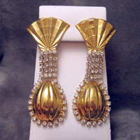 Long #Rhinestone #Earrings Kim #Vintage #Jewelry
