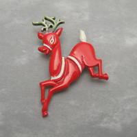 Red Reindeer Christmas Brooch Art Vintage Jewelry