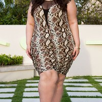 Roxanne Plunge Dress in Snake