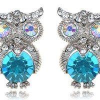 Silver Tone Aurora Borealis Crystal Rhinestone Blue Bodied Owl Stud Earrings