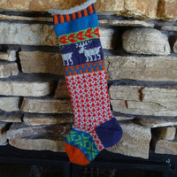 Hand Knit Christmas Stocking with Grey Moose, Green Snowflakes, Purple Heel - Can be Personalized
