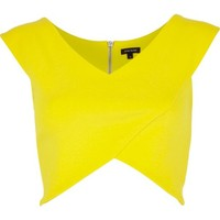 Yellow wrap crop top