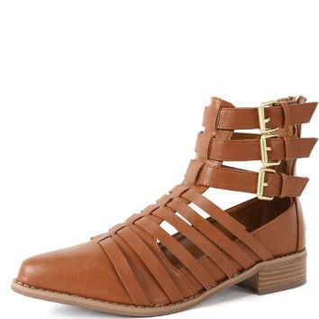 Breckelle's Sienna-01 Strappy Cut Out Boots | MakeMeChic.com