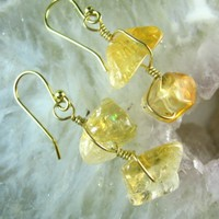 Citrine Nugget Golden Wire Wrap Gold Filled Earrings