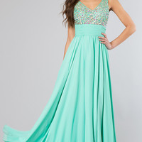 Floor Length V-Neck Dress